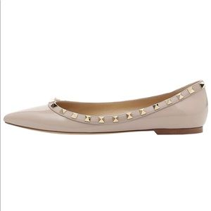 Rockstud 9 flats rivets cream  shoes Valentino